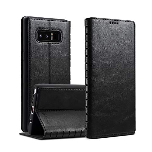 Spaysi Samsung Galaxy Note 8 Folio Flip Case Note 8 Leather Case Slim Note 8 Wallet Case Wireless Charging Book Style Kickstand Credit Card Slot Holder TPU Full Protection (Black)