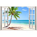 "Huge 3D Vinyl Wall Decal Sticker by Bomba-Deal, Window Frame Style High-Quality Home Décor Art Removable Wall Sticker, 33.5""X 47"" (Ocean Beach Seascape Palm Tree View)"
