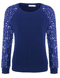 Blue Sequined Pullover Long Sleeve Sweatshirt