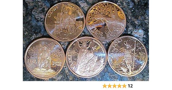 copper x 5 x Norse Mythology 1 oz each Copper .999 coins set  bonus bag coin