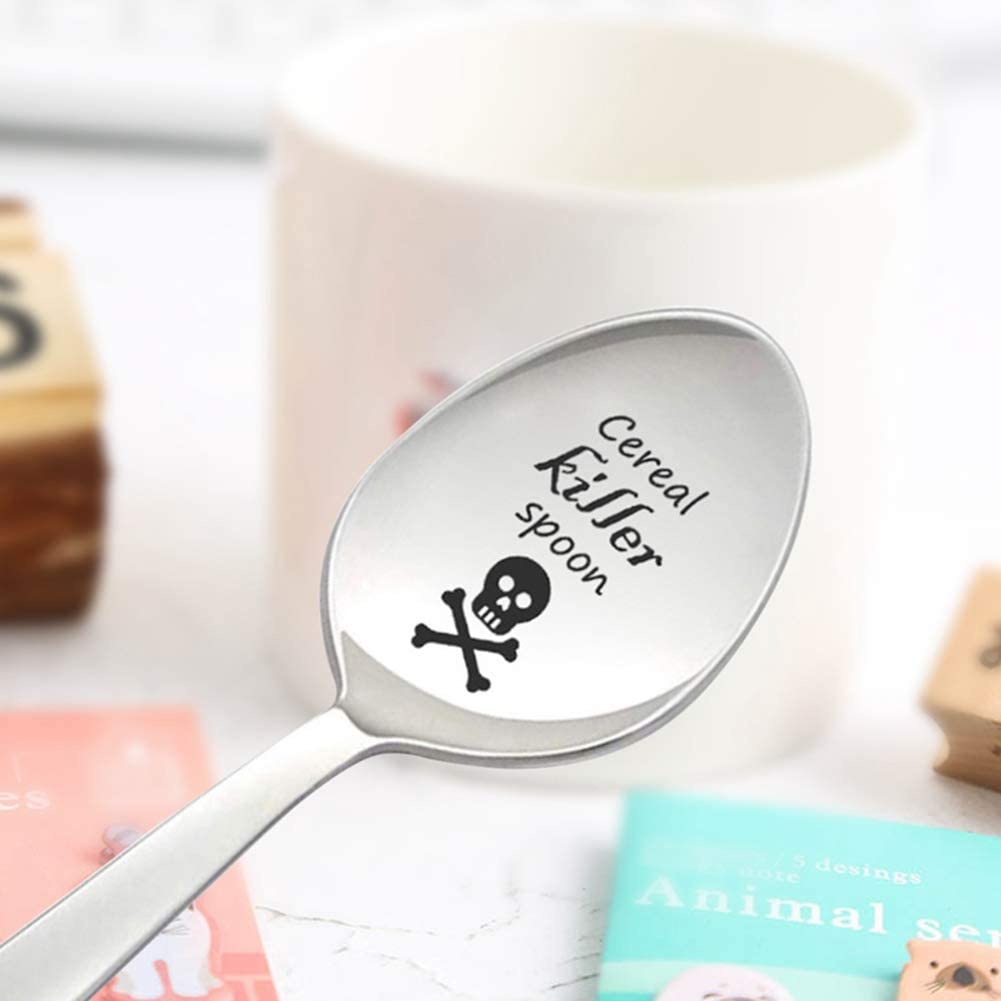 gerFogoo Stainless Steel Spoon Multi Style Cereal Soup Killer Ice Cream Coffee Grain Letter Curving Spoon Couple Gift Silver-Style1