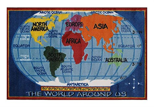 Price comparison product image Fun Rugs TSC-161 3147 Kids World Map Accent Rug, 31-Inch by 47-Inch