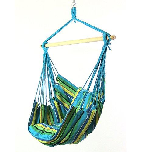 Single Hammock Swing Cushion - Sunnydaze Hanging Rope Hammock Chair Swing, Doubled Cushion Seat, Indoor or Outdoor Use, Ocean Breeze