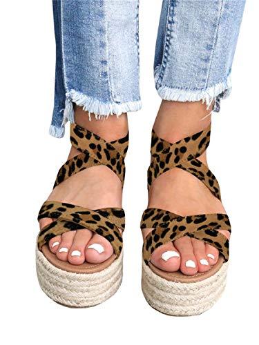 Mafulus Womens Platform Espadrille Sandals Criss Cross Strap Open Toe Ankle Buckle Summer Shoes