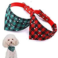 GETIEN Dog Collar Christmas Bandana Plaid Adjustable Pu Leather Pet Collars Triangle Scarf for Small Medium Dogs Cats 2 Packs (Plaid, M)
