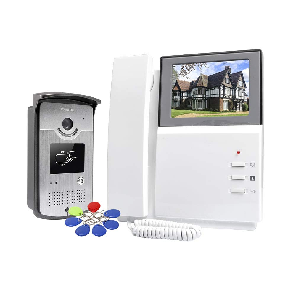 HOMSECUR 4.3'' TFT Colour Video Door Intercom with IR Camera, RFID Keyforbs Unlock, Electric Lock Supported Easy Commerce Global Limited