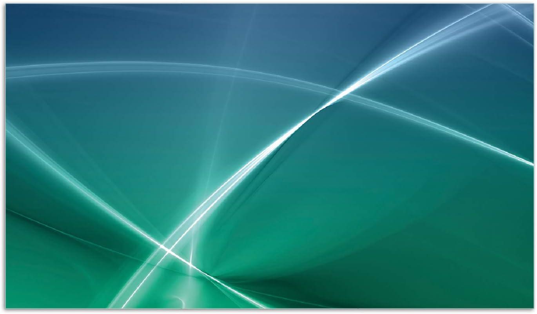 f/ür Ceran- und Induktionsherde 60x52cm Abstrakte Formen und Linien in blau gr/ün t/ürkis Wallario Herdabdeckplatte//Spritzschutz aus Glas 1-teilig