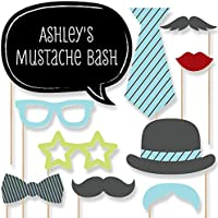 Custom Dashing Little Man Mustache Party Photo Booth Props Kit - Personalized Mustache Party Supplies for a Baby Shower or Birthday Party - 20 Selfie Props