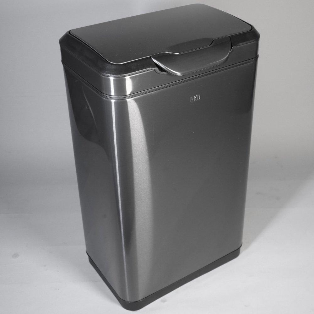 EKO ダストボックス ふた付き ゴミ箱 30L ステンレス おしゃれ タッチ式 横型 ガンメタリック B0785H7DYM