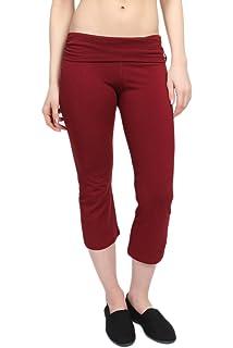 05a66545d962e TheMogan Women's Fold Over Stretchy Crop Yoga Workout Legging Flare Capri  Pant