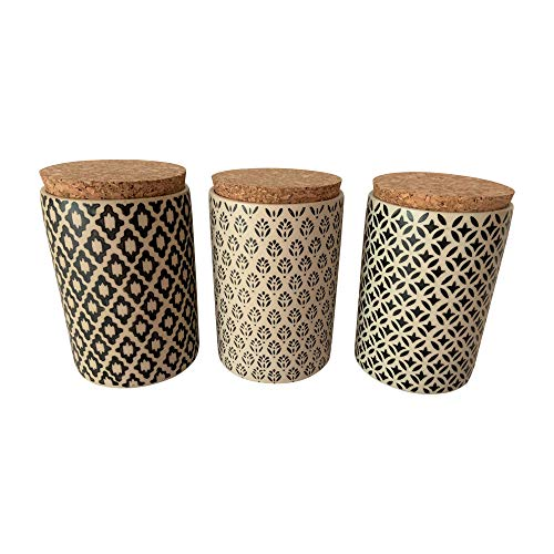 Hand Painted Ceramic Loose Leaf Tea Canisters With Airtight Cork Lid Storage Set of 3 ()