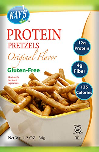 Kay's Naturals Protein Pretzel Sticks, Original, Gluten-Free, Low Carbs, Low Fat, Diabetes Friendly All Natural Flavorings, 1.2 Ounce (Pack of 6)