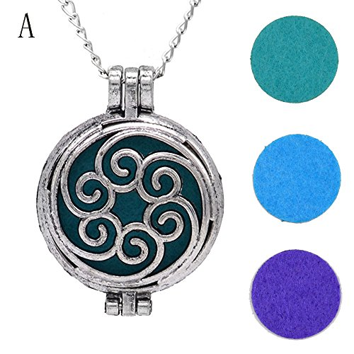 (FEDULK Vintage Pendant for Women Hollow Essential Oil Diffuser Necklace and Pad Fragrance Classic Girls Jewelry(A))