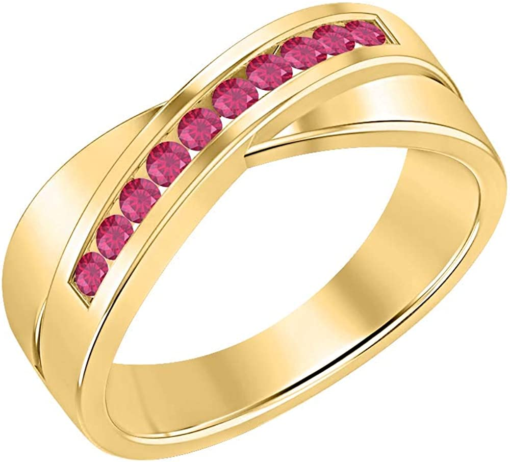 SVC-JEWELS 14K Yellow Gold Over 925 Sterling Silver Round Cut Pink Ruby Criss Cross X Wedding Band Ring Men