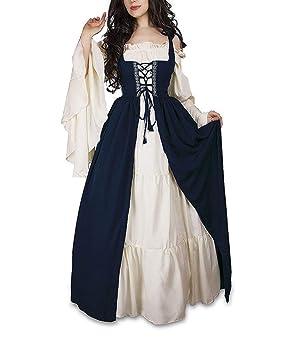 Guiran Vestido Vintage Mujer Medievales Disfraz Renacentista Cosplay de Halloween Azul 5XL