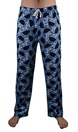U Wear Ltd Mens Sesame Street Cookie Monster Faces Lounge Pants