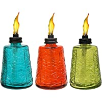 Tiki Brand 6-Inch Molded Glass Table Torch; Red, Green,...