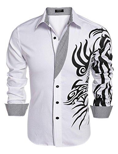 Coofandy Mens Fashion Print Dress Shirt Casual Cotton Button Down Shirts,White 1,Medium
