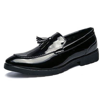 Xiaojuan-shoes, Zapatos Mocasines con borlas de Mocasines para Hombres Zapatos Antideslizantes con Cordones