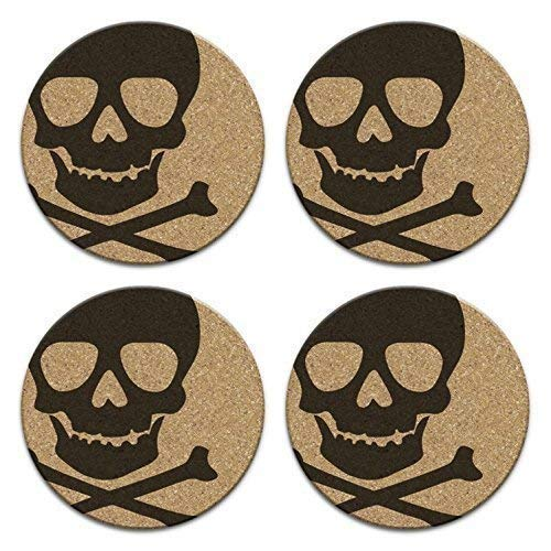 Pirate Skull And Crossbones Cork Drink Coaster Gift Set of 4 Gothic -