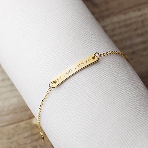 A Same Day Shipping Before 3 pm Custom Engraved Bracelet Personalized Jewelry Bridesmaid Bracelet Custom Roman Numeral Bracelet Gold Anniversary Gifts Personalized Jewelry - 3BR-RN by MignonandMignon