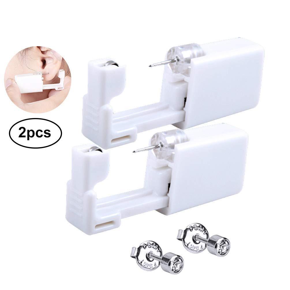 PRETTY SEE Ear Piercing Gun Disposable Ear Stud Gun Portable Nose Piercing Gun Set, Set of 2, White