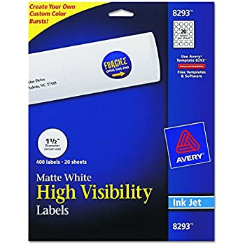 "Avery High-Visibility 1.5"" Round Labels, Personalize Your Pop Socket Phone Holder, 400 Pack (8293)"