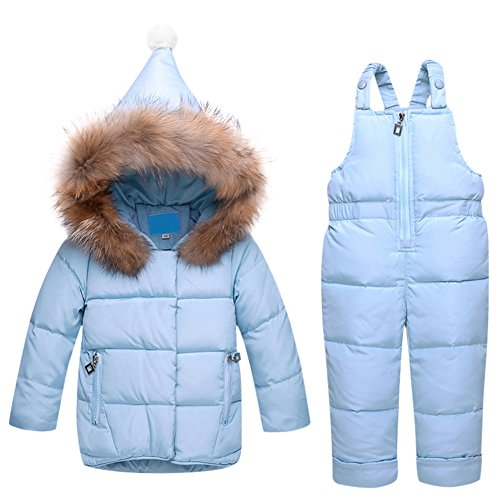 Tortor 1Bacha New Baby Girl Snow bib and Puffer Jacket 2-Piece Snowsuit (90, Blue)