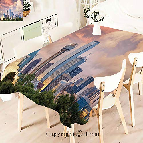 (Polyester Custom Tablecloth,City Skyline at Sunset Clouds Texas for Buffet Table, Parties, Holiday Dinner, Wedding & More,Multicolor)