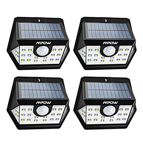 Solar Led Outdoor Lighting (Mpow Solar Lights Outdoor, 20 LED Motion Sensor Lights with Wide Angle Lighting, IP65 Waterproof Wireless Security Lights for Garage Front Door Garden Pathway - 4 Pack (Auto On/Off))