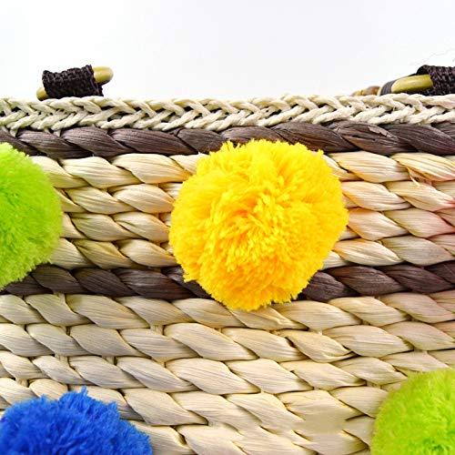 Plage À Et tout Quotidienne Fourre Panier Shopping Pour Main D'été Poignée Sac Ynnb La Dames Shopper Main Utilisation Hairball Paille Tissé Voyage Mode qAWzECxw
