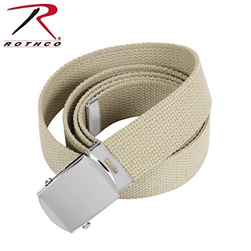 Rothco Plus Military Web Belts, Khaki-Chrome, 54