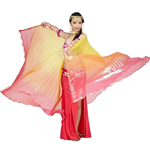 Dance Fairy Belly Dance Isis Wings(Yellow,Orange&Red Mixed No.3) (Red Belly Dancing Costume)
