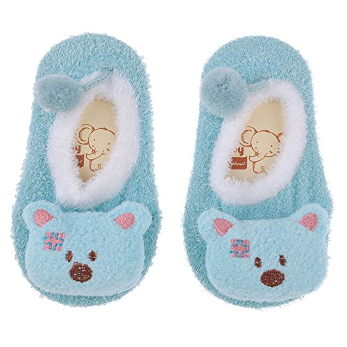 VANKER 3D Cute Cartoon Baby Infants Cashmere Anti Slip Anti-skid Socks Floor Sock SIZE: L,Sky Blue Bear