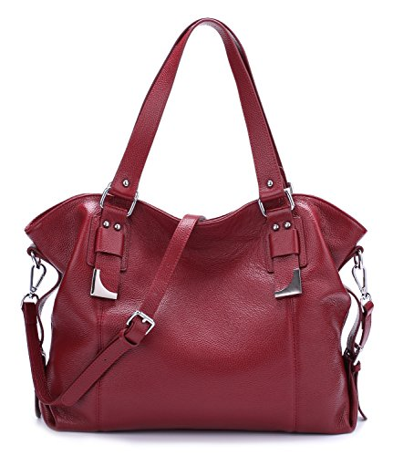 BIG SALE-AINIMOER Womens Leather Shoulder Bag Vintage Handbags Large Tote Top handle Purse Cross Body Bags(Wine) by AINIMOER