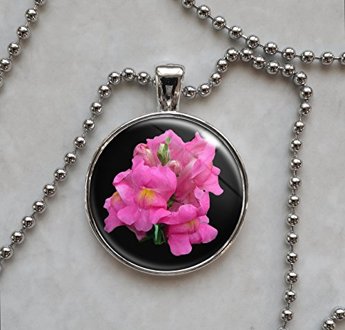 Pink Snapdragon Flower Pendant Necklace - Pink Snapdragons