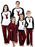 SleepytimePjs Holiday Family Matching Fleece Deer Plaid Pajama PJ Sets-Mens (STMF-5007-M-LRG)