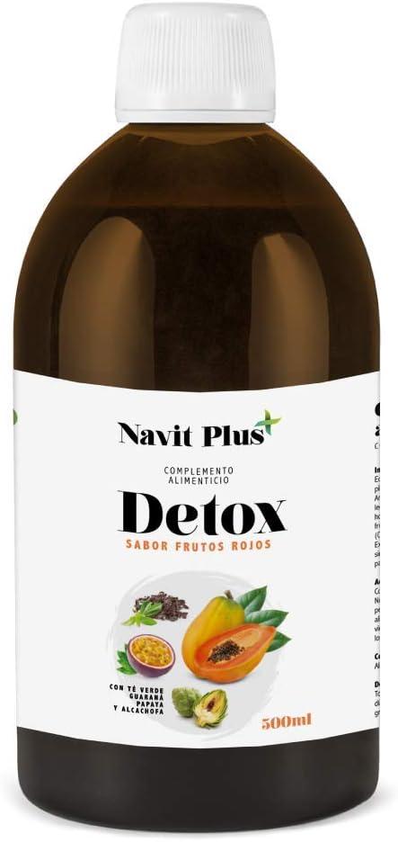 Detox adelgazante | Diurético potente natural líquido 500ml sabor frutos rojos | Formula detox drenante, antioxidante | Eliminación de toxinas | Te verde, guaraná, papaya, alcachofa | Fab Esp | VEGANO