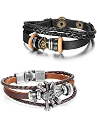 Aroncent 2pcs Leather Bracelet Vintage Sun Pirate Skull Bangle Wristband - Black Brown