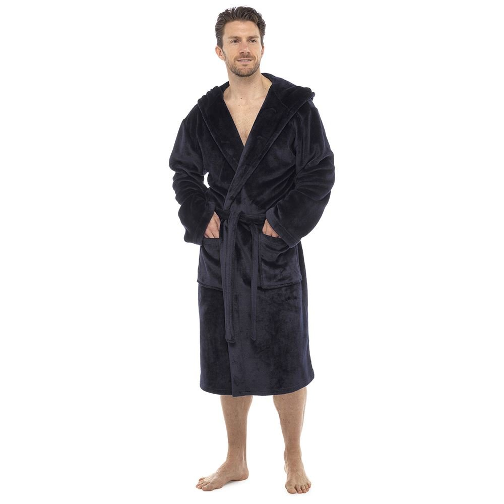c4be9f81bd1 Mens Luxury Super Soft Fleece Dressing Gown Bath Robe Hooded Thick ...