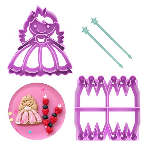 LunchPunch PRINCESS Sandwich Cutter Set - ORIGINAL SHAPES - Lifetime Replacement Guarantee - BPA FREE - Remove Crusts and Create Fun Bites to Fit in a Kids Bento Lunch Box! ()