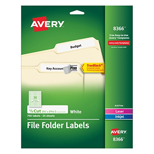 Template Filing Label - Avery File Folder Labels for Laser and Inkjet Printers, 0.6 x 3.43 Inches, White, Pack of 750  (8366)