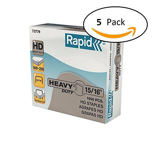 Rapid Heavy Duty Staples, 160 - 220 Sheets, 15/16 Inch (24mm) Leg, 5,000 Staples