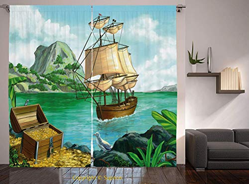 Living Room Bedroom Window Drapes/Rod Pocket Curtain Panel Satin Curtains/2 Curtain Panels/55 x 39 Inch/Pirate,Exotic Seacoast with Chest Full of Gold Old Vessel Tropic Nature Wealth Landscape,Multico