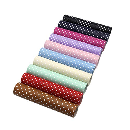 David Angie Solid Color Dots Printed Faux Leather Fabric Sheet 10 Pcs 8 x 13 (20 cm x 34 cm) Thick Soft Leather Sheet for DIY Crafting (Dots Pattern B)