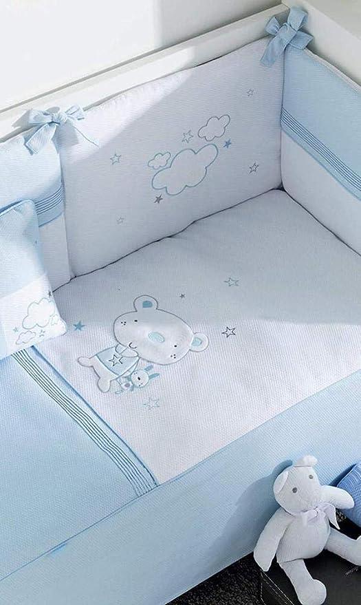Edred/ón color blanco y lino 62 x 125 cm Pirulos 21012520 dise/ño elefante protector y coj/ín