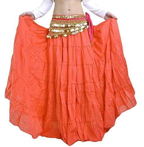 YiJee Danza del Vientre Falda Estilo Bohemio Larga Falda de la Mujer Naranja