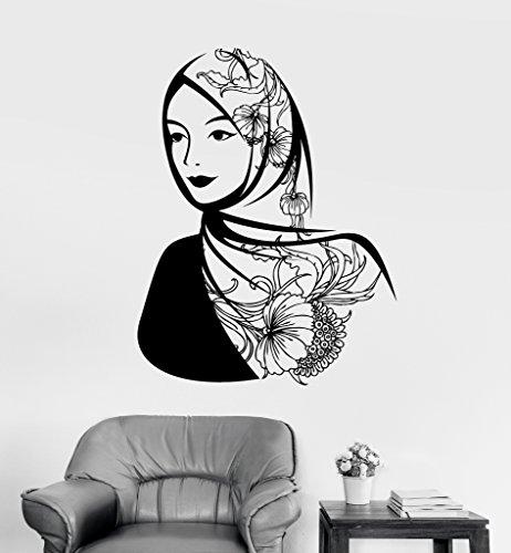 Large Vinyl Wall Decal Arabic Beautiful Woman Headscarf Muslim Islam Stickers (ig3621) Dark Blue by Wallstickers4you