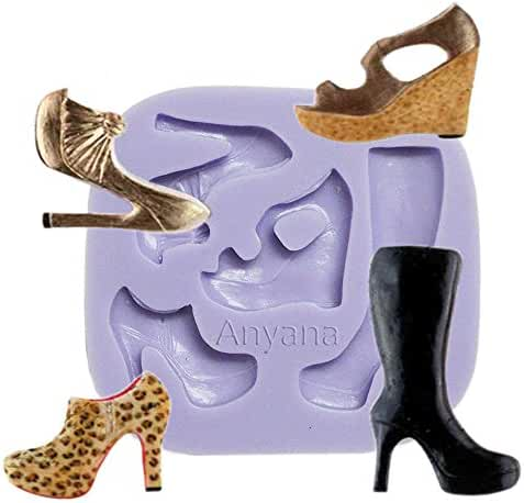 Anyana High-heeled Shoes High Heel Boots Silicone Fondant Mold Cake Decorating Pastry Gum Pastry Tool Kitchen Tool Sugar Paste Baking Mould Cookie Pastry