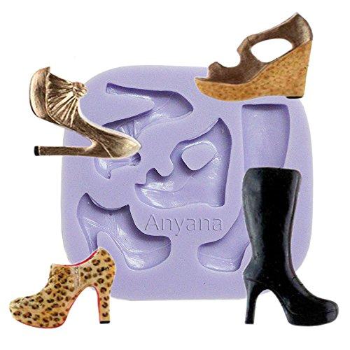 Anyana mini High-heeled Shoes High Heel Boots sandal mould cake Fondant impression gum paste mold for Sugar paste gumpaste cupcake decorating topper decoration sugarcraft sugar biscuit decor - Cake Decorating Shoe